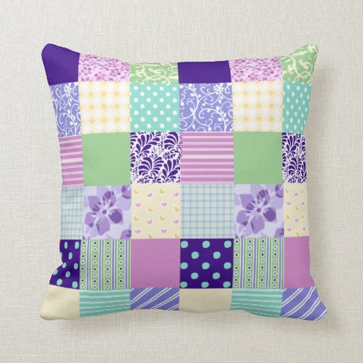 Girly and Fresh Pattern Squares Vector Quilt Throw Pillow Zazzle