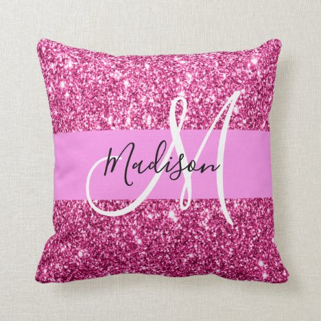 Girly and Glam Hot Pink Glitter Sparkles Monogram Throw Pillow