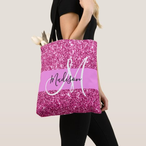 Girly and Glam Hot Pink Glitter Sparkles Monogram Tote Bag