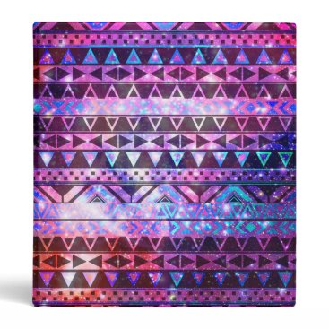 Aztec Themed Girly Andes Aztec Pattern Pink Teal Nebula Galaxy Binder