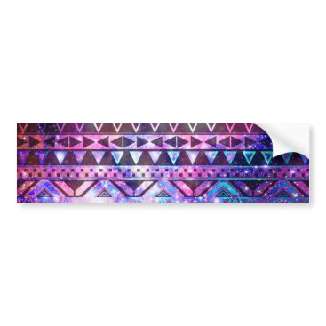 Aztec Themed Girly Andes Aztec Pattern Pink Teal Nebula Galaxy Bumper Sticker