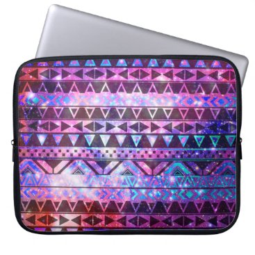 Aztec Themed Girly Andes Aztec Pattern Pink Teal Nebula Galaxy Computer Sleeve