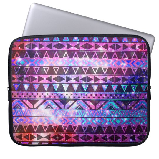 Girly Andes Aztec Pattern Pink Teal Nebula Galaxy Computer Sleeve
