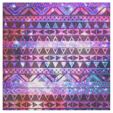 Aztec Themed Girly Andes Aztec Pattern Pink Teal Nebula Galaxy Fabric