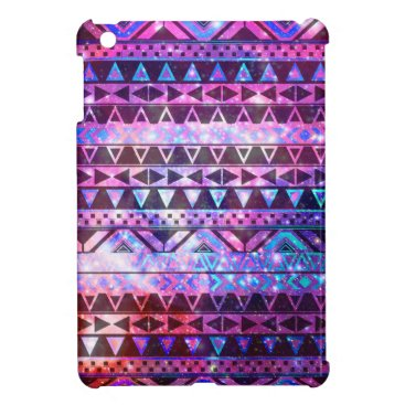 Aztec Themed Girly Andes Aztec Pattern Pink Teal Nebula Galaxy iPad Mini Cases