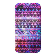 Girly Andes Aztec Pattern Pink Teal Nebula Galaxy iPhone 4/4S Cover at Zazzle