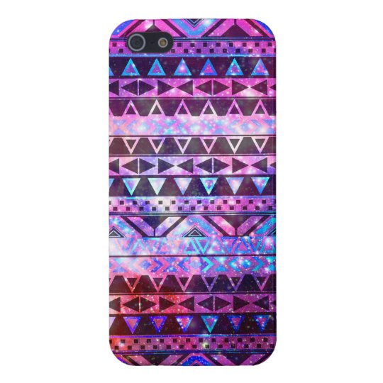 Girly Andes Aztec Pattern Pink Teal Nebula Galaxy iPhone SE/5/5s Case