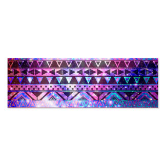 Girly Andes Aztec Pattern Pink Teal Nebula Galaxy Mini Business Card