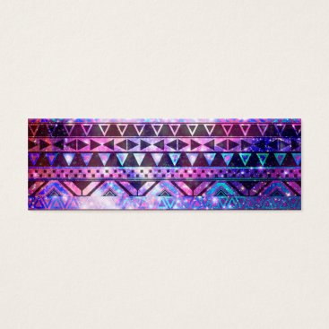Aztec Themed Girly Andes Aztec Pattern Pink Teal Nebula Galaxy Mini Business Card