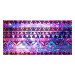 Girly Andes Aztec Pattern Pink Teal Nebula Galaxy Photo Card