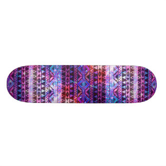 Girly Andes Aztec Pattern Pink Teal Nebula Galaxy Skateboard