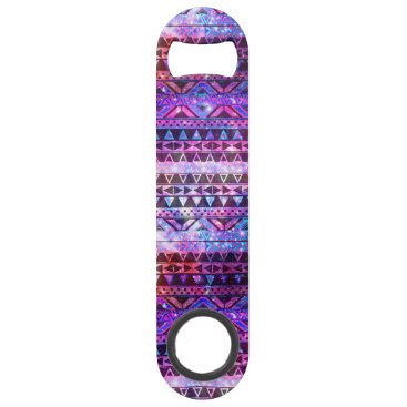 Aztec Themed Girly Andes Aztec Pattern Pink Teal Nebula Galaxy Speed Bottle Opener