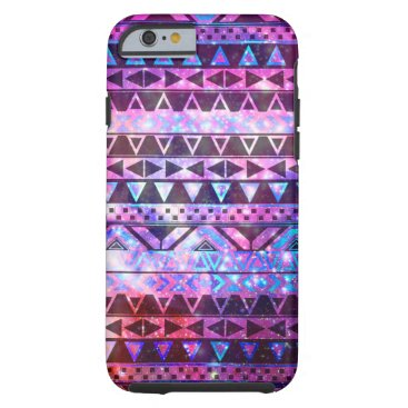 Aztec Themed Girly Andes Aztec Pattern Pink Teal Nebula Galaxy Tough iPhone 6 Case