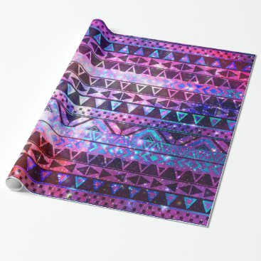 Aztec Themed Girly Andes Aztec Pattern Pink Teal Nebula Galaxy Wrapping Paper