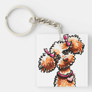 Girly Apricot Poodle Off-Leash Art™ Single-Sided Square Acrylic Keychain