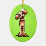 Girly Apricot Poodle Off-Leash Art™ Christmas Ornaments