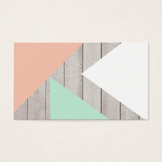 Girly Apricot Teal Gray Wood Modern Color Block Business Card