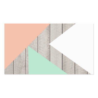 Girly Apricot Teal Gray Wood Modern Color Block Business Card Template