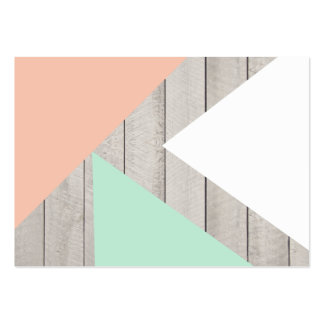 Girly Apricot Teal Gray Wood Modern Color Block Business Cards