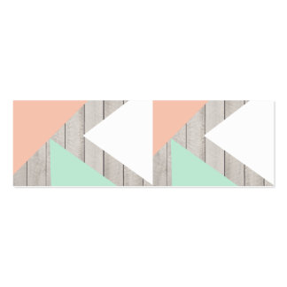 Girly Apricot Teal Gray Wood Modern Color Block Double-Sided Mini Business Cards (Pack Of 20)