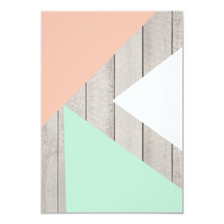 Girly Apricot Teal Gray Wood Modern Color Block 3.5x5 Paper Invitation Card