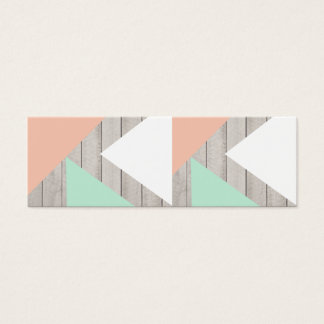 Girly Apricot Teal Gray Wood Modern Color Block Mini Business Card