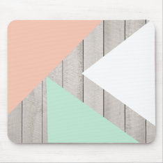 Girly Apricot Teal Gray Wood Modern Color Block Mouse Pad at Zazzle