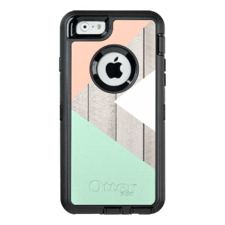 Girly Apricot Teal Gray Wood Modern Color Block OtterBox Defender iPhone Case