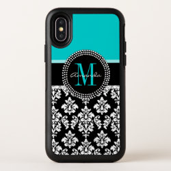 Girly Aqua Black Damask Custom Monogram Name OtterBox iPhone XS Case