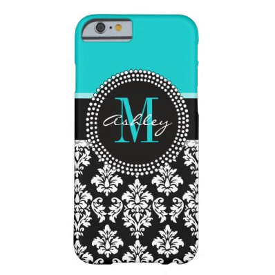 Girly Aqua Black Damask Your Monogram Name Barely There iPhone 6 Case