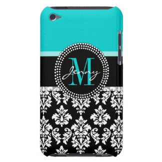 Girly Aqua Black Damask Your Monogram Name Barely There iPod Cases