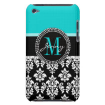 Girly Aqua Black Damask Your Monogram Name Barely There iPod Cover