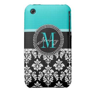 Girly Aqua Black Damask Your Monogram Name Case-Mate iPhone 3 Case