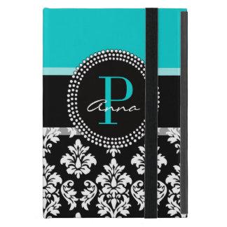 Girly Aqua Black Damask Your Monogram Name Cases For iPad Mini