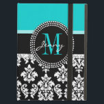 "Girly Aqua Black Damask Your Monogram Name Cover For iPad Air<br><div class=""desc"">Girly Black and White Damask Pattern with Monogram Initial Aqua. Personalize with your name and monogram. Damask Gallery&#169; Other colors and styles available in our shop at www.zazzle.com/DamaskGallery*</div>"