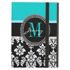 Girly Aqua Black Damask Your Monogram Name Cover For Ipad Air at Zazzle