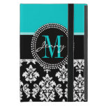 Girly Aqua Black Damask Your Monogram Name Covers For iPad Mini