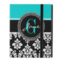 Girly Aqua Black Damask Your Monogram Name iPad Cover