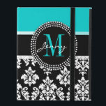 """Girly Aqua Black Damask Your Monogram Name iPad Folio Case<br><div class=""""desc"""">Girly Black and White Damask Pattern with Monogram Initial Aqua. Personalize with your name and monogram. Damask Gallery© Other colors and styles available in our shop at www.zazzle.com/DamaskGallery*</div>"""