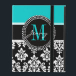"Girly Aqua Black Damask Your Monogram Name iPad Folio Case<br><div class=""desc"">Girly Black and White Damask Pattern with Monogram Initial Aqua. Personalize with your name and monogram. Damask Gallery&#169; Other colors and styles available in our shop at www.zazzle.com/DamaskGallery*</div>"