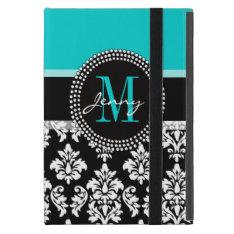 Girly Aqua Black Damask Your Monogram Name iPad Mini Cover at Zazzle