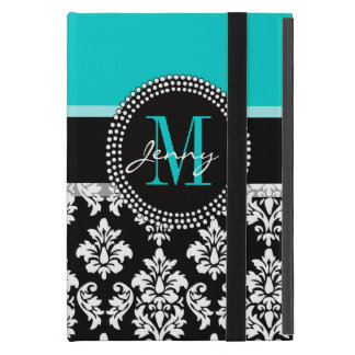 Girly Aqua Black Damask Your Monogram Name iPad Mini Cover