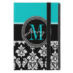 Girly Aqua Black Damask Your Monogram Name iPad Mini Covers at Zazzle