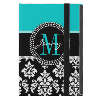 Girly Aqua Black Damask Your Monogram Name iPad Mini Covers