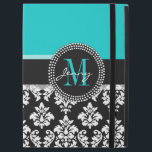 """Girly Aqua Black Damask Your Monogram Name iPad Pro 12.9&quot; Case<br><div class=""""desc"""">Girly Black and White Damask Pattern with Monogram Initial Aqua. Personalize with your name and monogram. Damask Gallery&#169; Other colors and styles available in our shop at www.zazzle.com/DamaskGallery*</div>"""