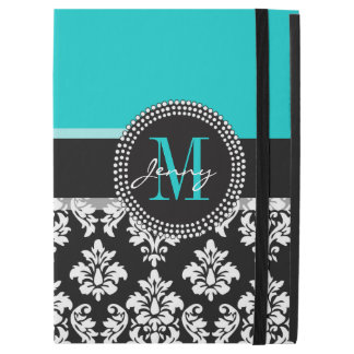 "Girly Aqua Black Damask Your Monogram Name iPad Pro 12.9"" Case"