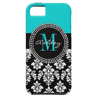 Girly Aqua Black Damask Your Monogram Name iPhone 5 Case