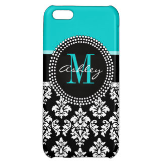 Girly Aqua Black Damask Your Monogram Name iPhone 5C Covers