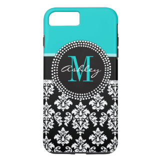Girly Aqua Black Damask Your Monogram Name iPhone 7 Plus Case
