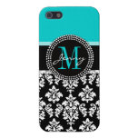 Girly Aqua Black Damask Your Monogram Name Cases For iPhone 5